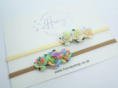 handmade rainbow mulberry roses baby headband front view