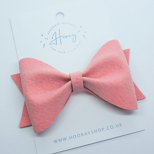 pink handmade vegan suede hair bow front view