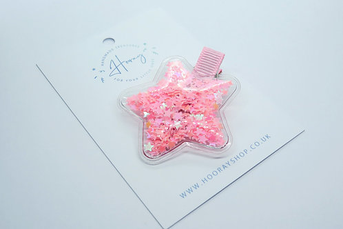 Pink Sequin Filled Star Hair Clip