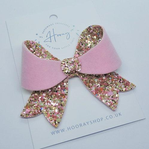 Pink Glitter and Velvet Bow