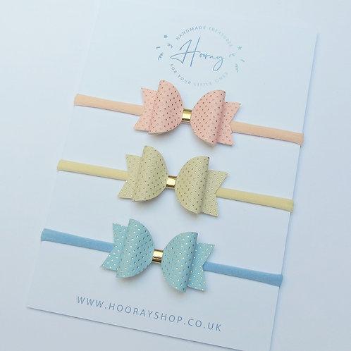 handmade polka dot hair bow set front view