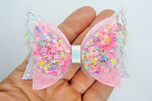 Pink Sequin Wings Hair Bow