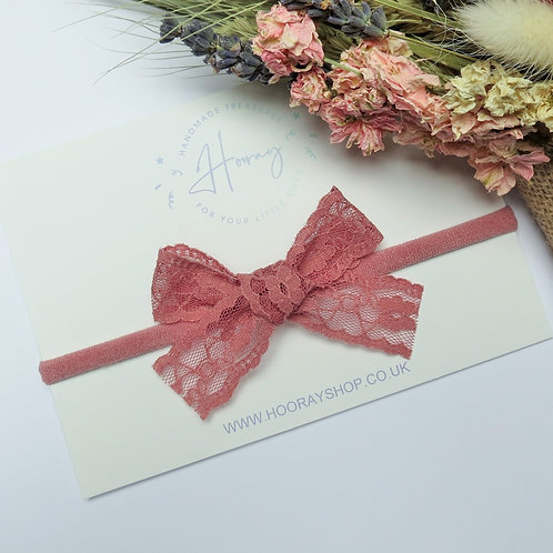 handmade dusky pink lace hair bow front view