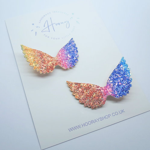 Glitter rainbow wings pigtail clips