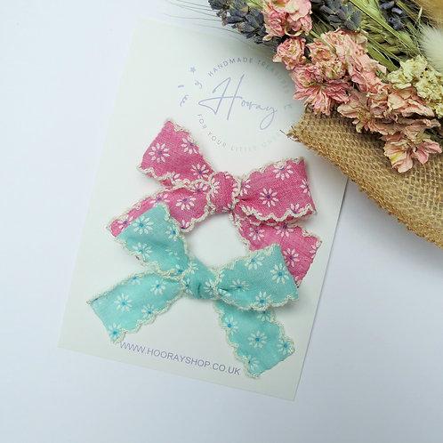 handmade lace ribbon hair bows front view
