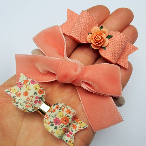 handmade coral hair bow set front view