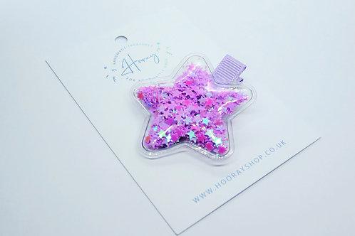 Purple Sequin Star Hair Clip