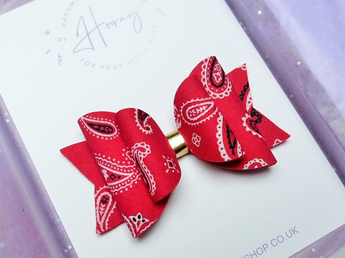 handmade red bandana hair bow front view