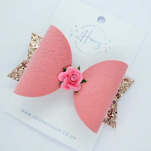 handmade pink hair bow front view