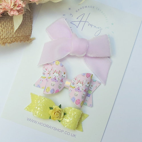 handmade easter hair bow set front view