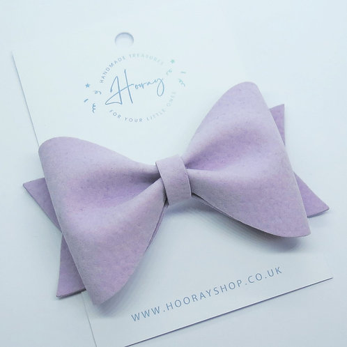 lilac handmade vegan suede hair bow front view