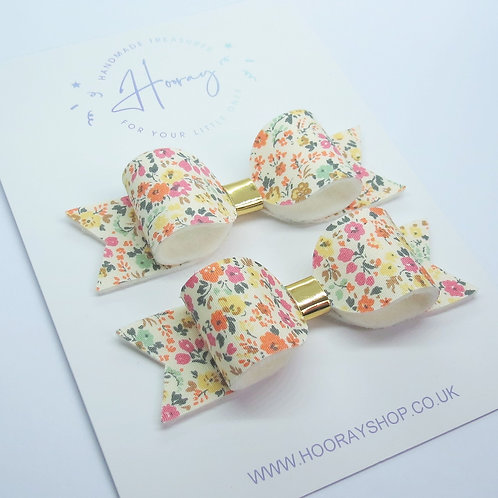 Coral Pigtail Bows