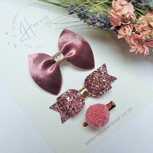 handmade dusky pink hair bow set front view