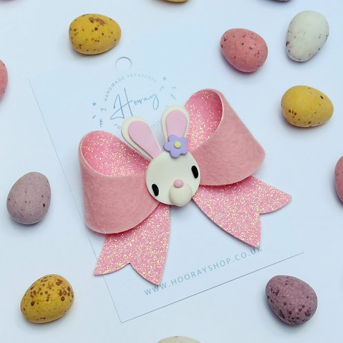 pink glitter easter bunny hair bow front view