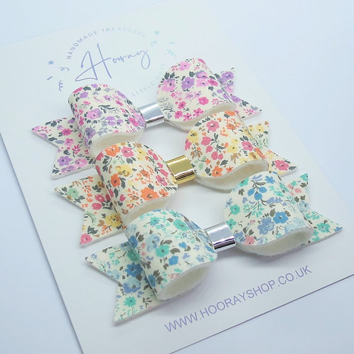 handmade floral hair bows front view