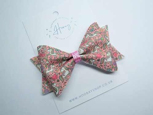 Handmade Pink Unicorn Hair Bow front view