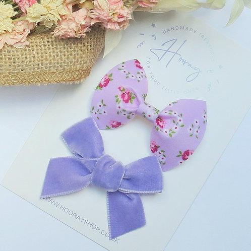 Lilac Hair Bow Set