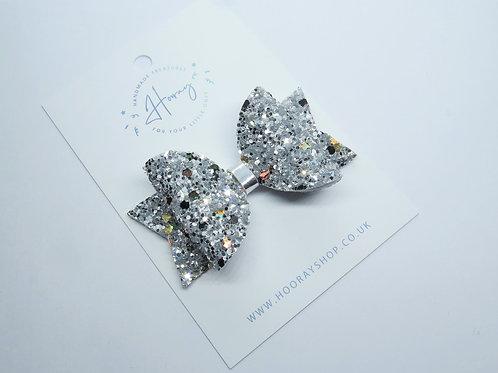Handmade Silver Glitter Hair Bow