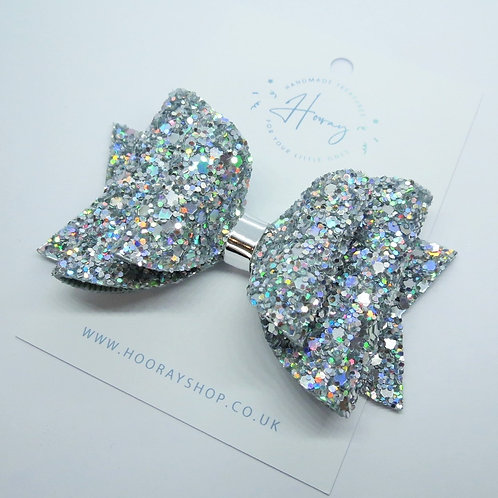 handmade silver glitter hair bow front view