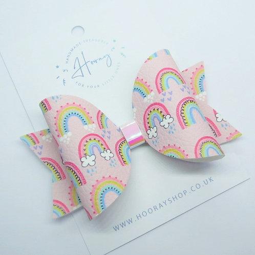 Pink Rainbow Hair Bow