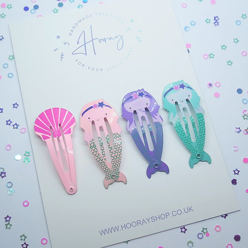 Mermaid snap clips front view