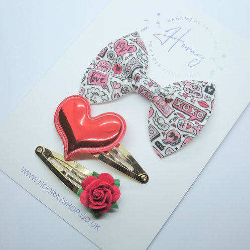 handmade red hair bow gift set