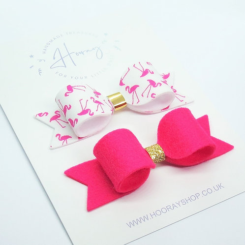 Flamingo pink hair bow set front view