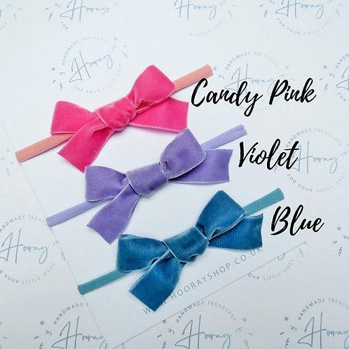 handmade velvet hair bows front view