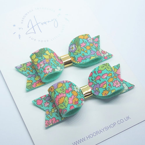 Turquoise Floral Pigtail Bows