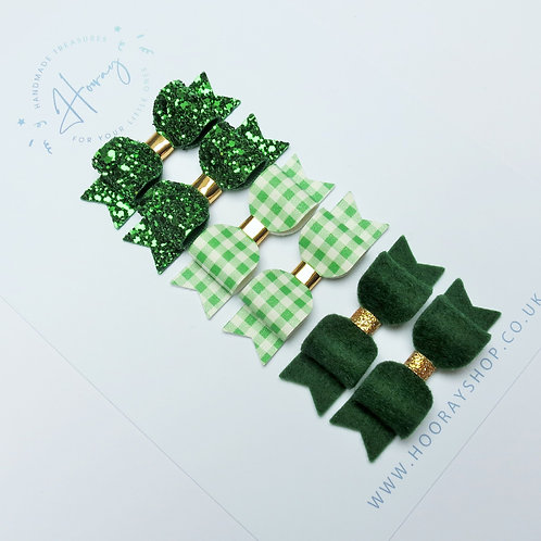 school green hair bows front view