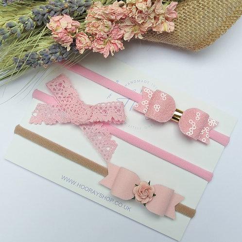 handmade baby pink headband set front view