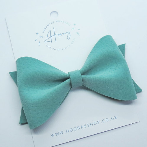 teal handmade vegan suede hair bow front view