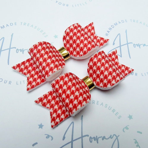 Red Houndstooth Bow
