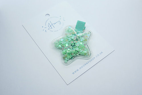 Mint Sequin Star Hair Clip