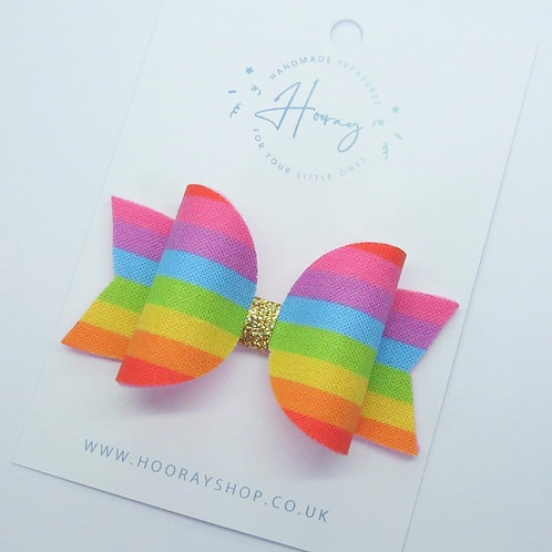 handmade baby rainbow hair bow front view
