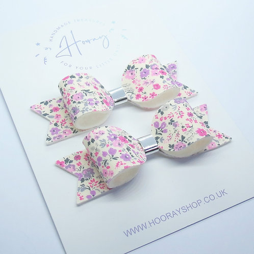 Pink Floral Pigtail Bows