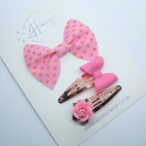 handmade pink hair bow gift set