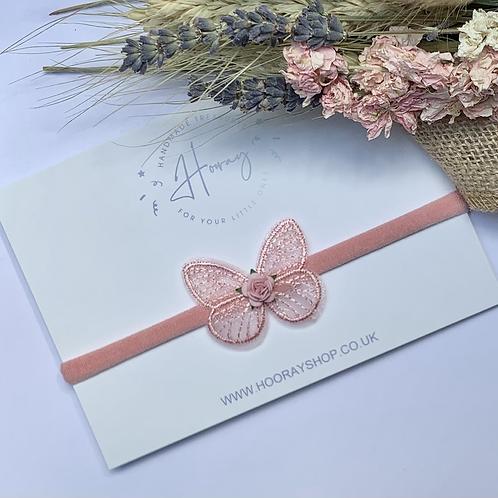 Dusky Pink Butterfly Headband