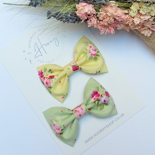 handmade floral cotton hair bows front view