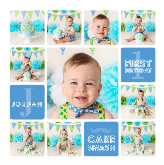 Blue and Green Cake Smash