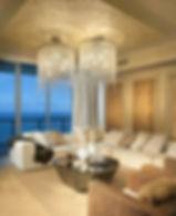 lounge, chandelier, apartment