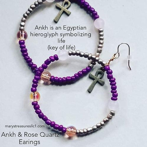 Ankh and Rose Quartz Earrings
