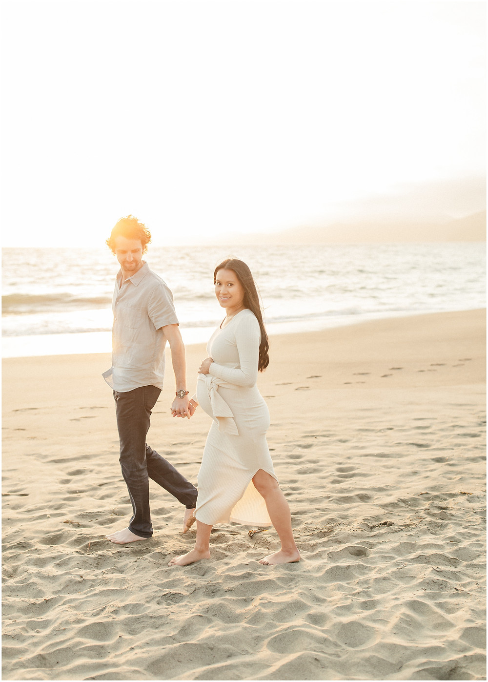 Coastal San Francisco Baker Beach fine art lifestyle maternity session by Marin Bay Area Photographer Torrey Fox  bright airy dreamy neutral pregnancy style