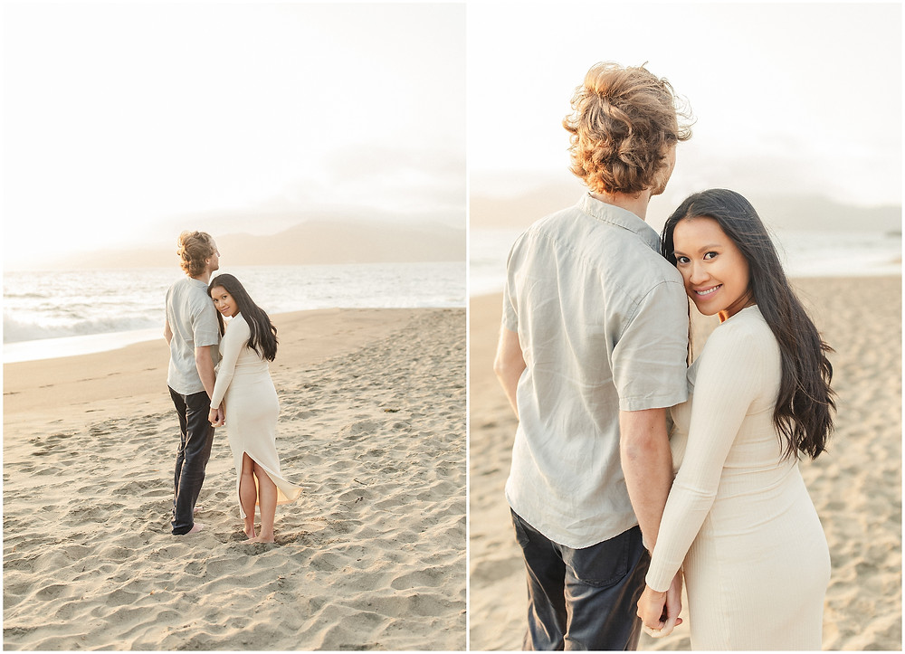 Coastal San Francisco Baker Beach fine art lifestyle maternity session by Marin Bay Area Photographer Torrey Fox