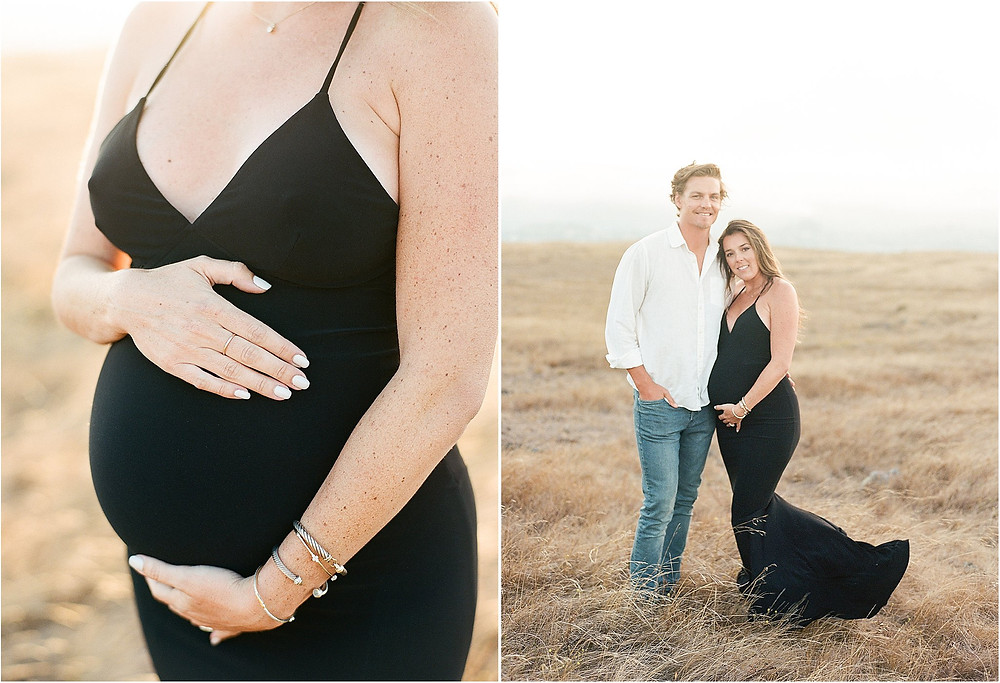 Editorial lifestyle natural classic high fashion black dress San Francisco Bay Area Maternity session