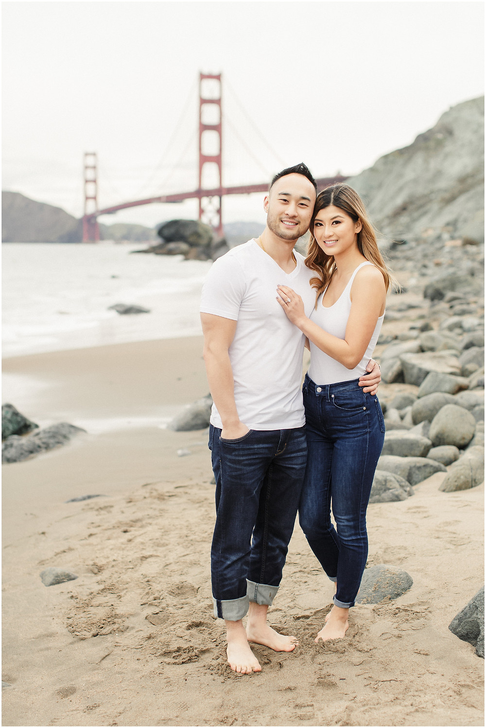 San Francisco engagement photographed at Marshall's Beach by Torrey Fox
