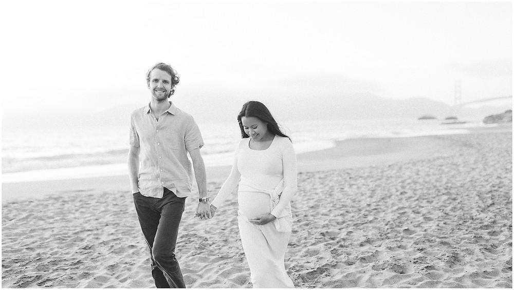 Coastal San Francisco Baker Beach fine art lifestyle maternity session by Marin Bay Area Photographer Torrey Fox  bright airy dreamy neutral pregnancy style