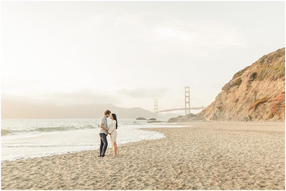 Coastal San Francisco Baker Beach fine art lifestyle maternity session by Marin Bay Area Photographer Torrey Fox