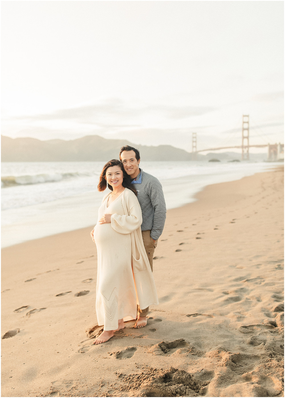 San Francisco Bay Area Baker Beach maternity photography session by fine art bright airy editorial lifestyle maternity photographer Torrey Fox