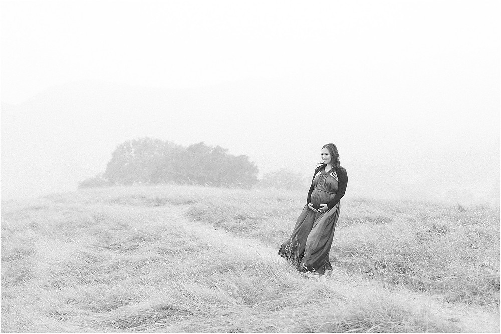 Marin golden rolling Californian hills maternity session. Hatch gal dress maternity pregnancy style. Photographed by San Francisco Bay Area lifestyle fine art maternity photographer Torrey Fox